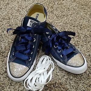 New! Converse w/ Sworvorski Bling Shoes Navy 11 wo